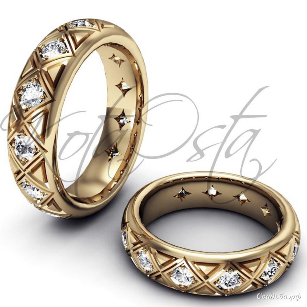 Купить обручальные кольца З216 (Италия, материал: желтое золото, с несколькими бриллиантами) - Ювелирный салон