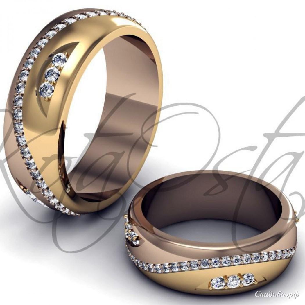 Купить обручальные кольца З224 (Италия, материал: желтое золото, с несколькими бриллиантами) - Ювелирный салон